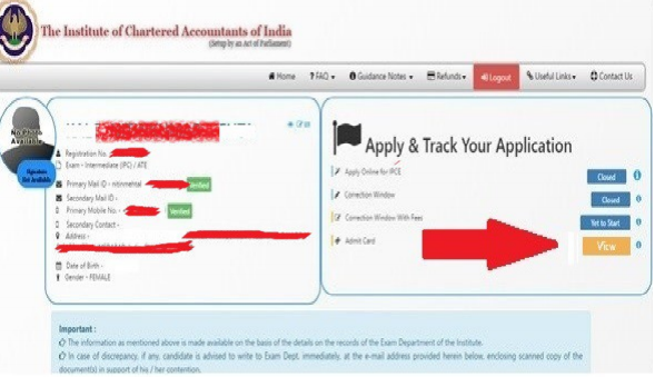 How to download Ca intermediate admit card may 2019