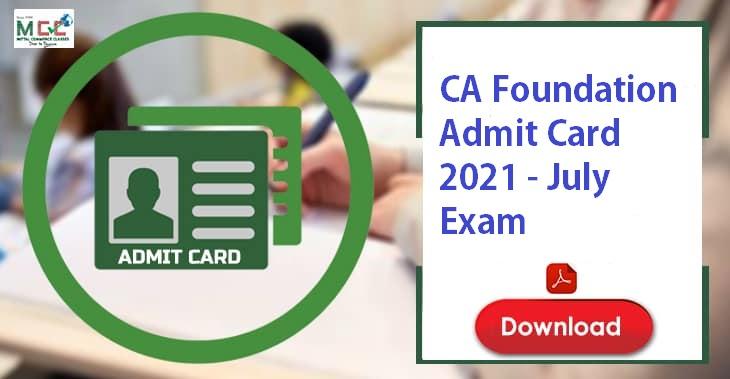 CA Foundation Admit Card 2021