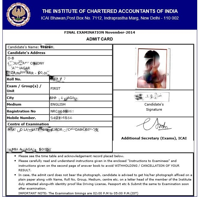 cpt admit card, ICAI CA CPT Admit card for june 2019