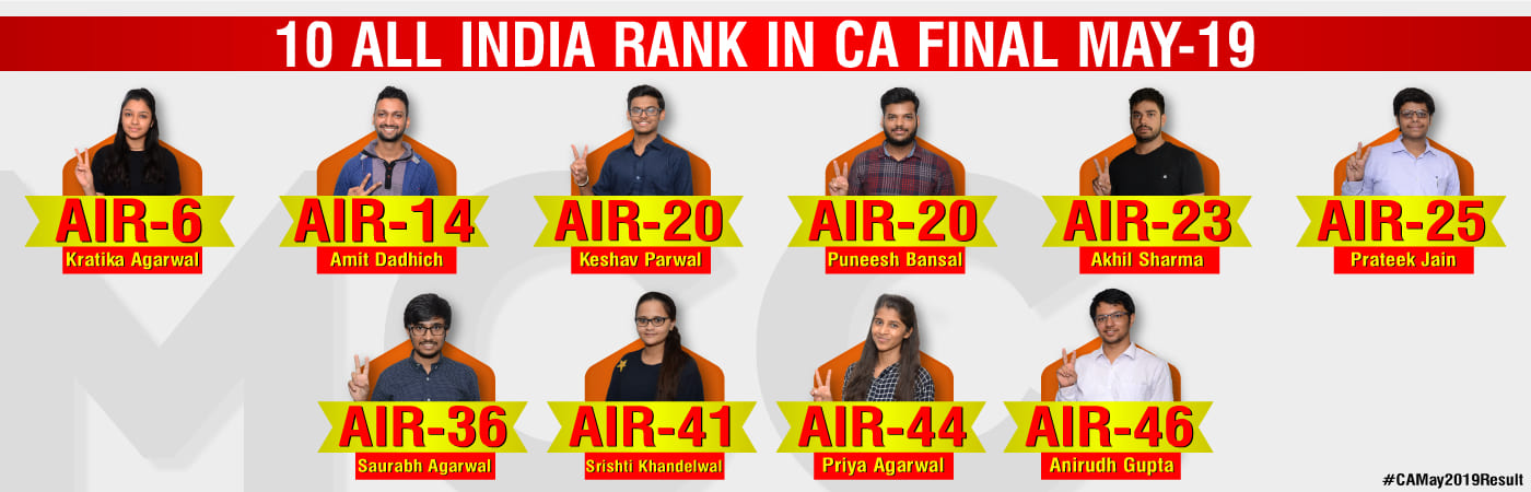 10 all india ranks in CA Final May 2019